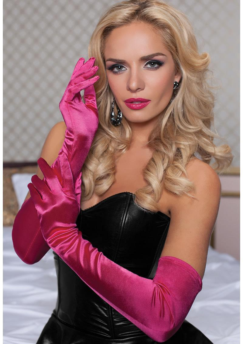 Satin Opera Length Gloves-hot Pink O/s